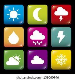 weather icons over black background vector illustration