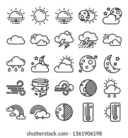 Weather icons pack. Isolated weather symbols collection. Graphic icons element