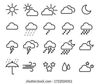 Weather icons, rainy and cloud outline style ,Vector illustration