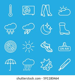weather icons set. Set of 16 weather outline icons such as umbrella, thunder, thermometer, sun, woman boots, boot, rain, no brightness, open air, moon and stars