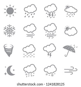 Weather Icons. Set 2. Gray Flat Design. Vector Illustration.