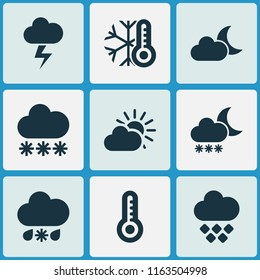 Weather icons set with the flash, sleet, cold and other thermometer elements. Isolated vector illustration weather icons.
