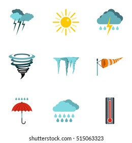 Weather icons set. Flat illustration of 9 weather vector icons for web