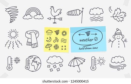 Weather icons set. Full vector drawings with editable strokes.