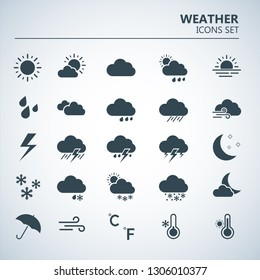 Weather icons set. Silhouette art vector illustrations. Black symbols of forecast. Meteorological infographics signs. Web icons vector design