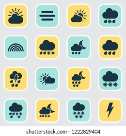 Weather icons set with snow, thunderstorm, heavy sleet night and other voltage elements. Isolated vector illustration weather icons.