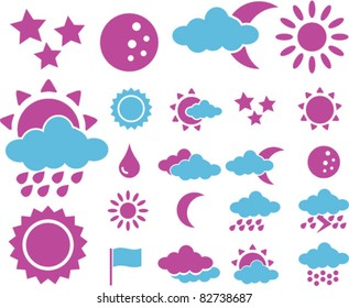 weather icons, signs, vector illustrations