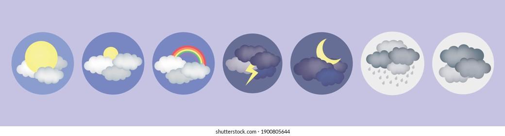Weather Icons. Sun, rain, rainbow, thunderstorm. Pictogram collection of meteorology.