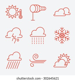 Weather  icons, thin line style, flat design