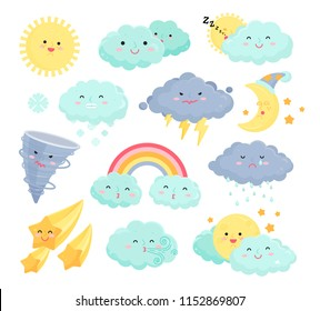 Weather icons vector set isolated from background. Collection of cute and funny weather signs. Cartoon design colorful illustrations of rainbow, stars, snow, wind, thunder, moon, sun, rain, clouds