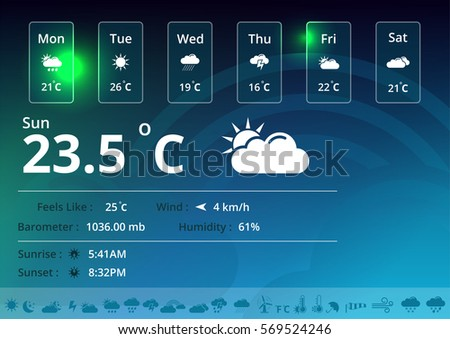 Weather Icons Widget Stock Vector (Royalty Free) 569524246