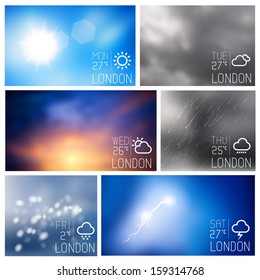 Weather intereface boxes, vector illustration
