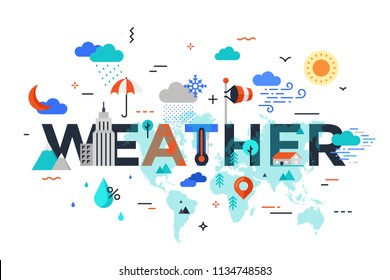 Weather lettering surrounded by world map, precipitation, umbrella, clouds, mountains symbols. Colorful infographic banner with elements in flat style. Vector illustration for meteorological website.