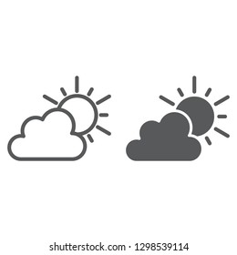 Weather line and glyph icon, sky and climate, sun and cloud sign, vector graphics, a linear pattern on a white background.