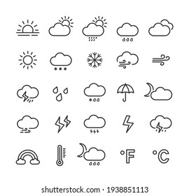 Weather line icon set with editable stroke. Outline collection of meteorology symbols. Vector illustration.