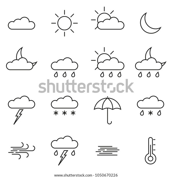 Weather Line Icon Set Outline Weather Stock Vector (Royalty