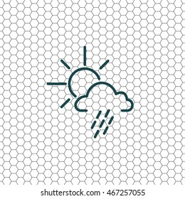 weather line icon. sun behind the cloud with rain
