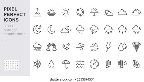 Weather line icons set. Sun, rain, thunder storm, dew, wind, snow cloud, night sky minimal vector illustrations. Simple flat outline signs for web, forecast app. 30x30 Pixel Perfect. Editable Strokes.