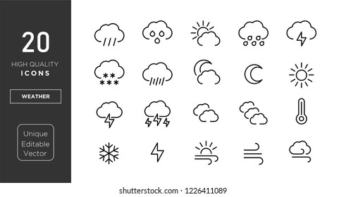 weather line icons. vector linear icon set.