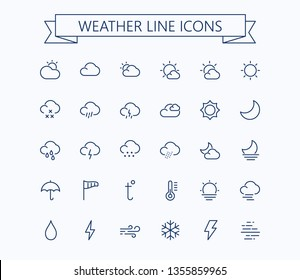 Weather line mini icons.Editable stroke. 24x24 grid. Pixel Perfect.