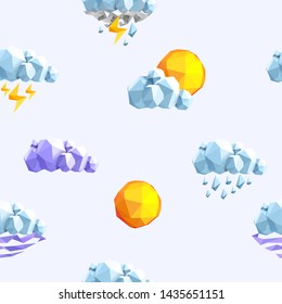 Weather low poly seamless pattern. Rainy clouds, sun, lightning texture on skyblue background. Forecast meteorology 3d polygonal symbols. Decorative textile, wallpaper, wrapping paper, print