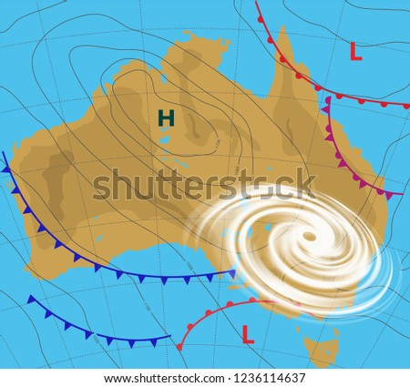 Weather Map Australia Meteorological Forecast Hurricane Stock Vector on