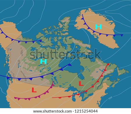 Weather Map Canada Realistic Synoptic Map Stock Vector Royalty Free