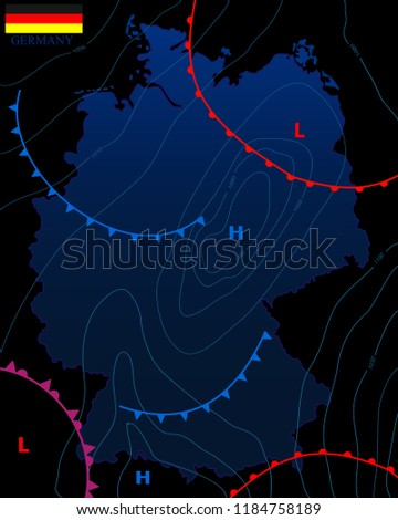 Weather Map Of Germany.Weather Map Germany Meteorological Forecast On Stock Vector Royalty