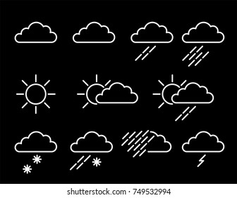 Weather map icons featuring sun, cloud, rain, sleet, snow, thunder and fog, plus variants of each all as white vectors.