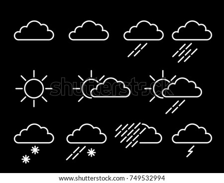 Weather Map Icons Featuring Sun Cloud Stock Vector Royalty Free