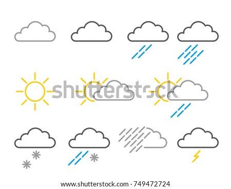 Weather Map Icons Showing Cloud Rain Stock Vector Royalty Free