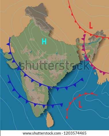 Weather Map India Chart Synoptic Showing Stock Vector Royalty Free
