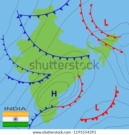 Weather Map India Realistic Synoptic Map Stock Vector Royalty Free