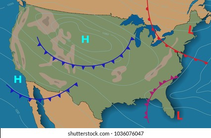 Weather map of the United States of America. Meteorological forecast. Editable vector illustration of a generic weather map showing isobars and weather fronts