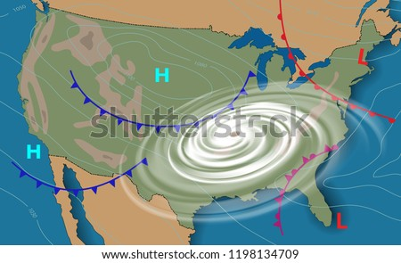 Weather Map Of America.Weather Map United States America Meteorological Stock Vector