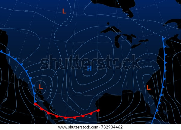 Weather Map United States America Meteorological Stock ...