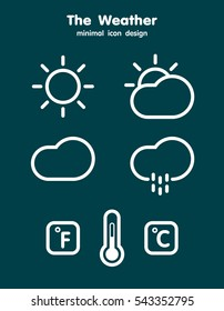 Weather minimal icons set line design, Flat style vector illustration EPS 10.