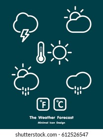 Weather minimal icons set line design. illustration design