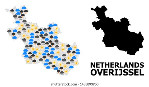 Weather mosaic vector map of Overijssel Province. Geographic mosaic map of Overijssel Province is combined from scattered rain, cloud, sun, thunderstorm elements.