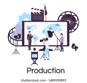 Weather and news broadcasting flat concept icon. Press and mass media sticker, clipart. Newscast, forecast studio crew. Video production, reportage. Isolated cartoon illustration on white background