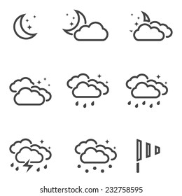 Weather at night icons set black outline simple symbols isolated on white background. Vector illustration