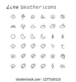 weather outline icons collection set line on white background