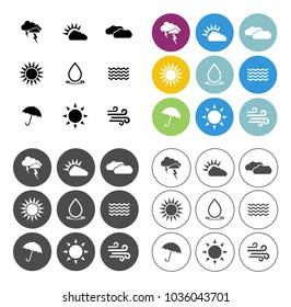 Weather overcast icons set - forecast sign and symbols