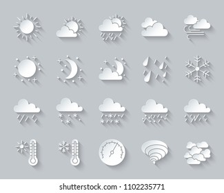 Weather paper cut art icons set. Web sign kit of meteorology. Climate pictogram collection includes barometer, cloud, drizzle. Simple weather vector carved icon shape. Material design symbol