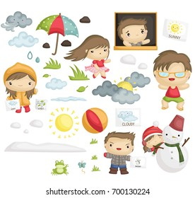 Weather and People vector set