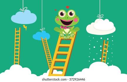 Weather Prophet Frog Cute Vector Child illustration with weather prophet Frog