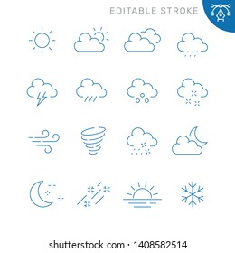 Weather related icons. Editable stroke. Thin vector icon set