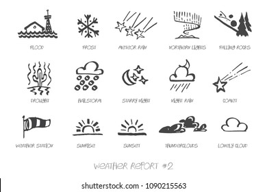 Weather Report hand drawn vector icon set