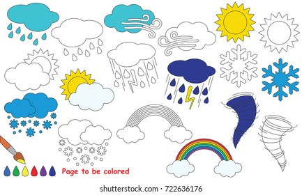 Weather Set to be colored, the coloring book for preschool kids with easy educational gaming level.