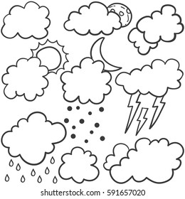 Weather set style with cloud vector art